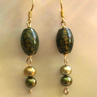 Achat-Perlen-Ohrringe