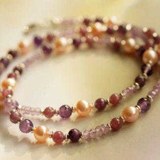 Lepidolith-Amethyst-Perlen-Kette